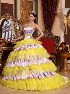 Printing Multi-color Beaded Sweet 15 Dress with Ruffled Layers