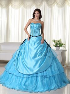 Ball Gown Flowers Beaded Aqua Blue Dress for Quinceaneras