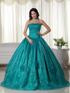 Fast Shipping Strapless Beaded Turquoise Quinceanera Dresses