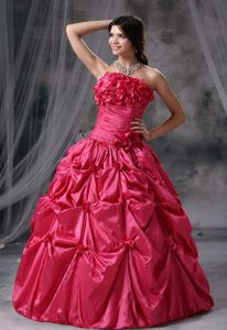 Cute Strapless Flowers Pick Ups Coral Red Quinceaneras Dress