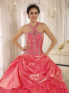 Pretty Halter Top Beaded Pleated Watermelon Quinceanera Dress