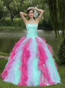 2012 Colorful Ball Gown Sweetheart Beaded Sweet 15 Dresses