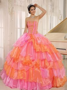 Multi-color Appliqued Quinceanera Gown with Ruffled Layers