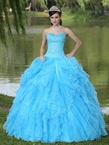 Cheap Sweetheart Ruffled Beaded Aqua Blue Quinceanera Dress