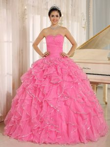 Brand New Rose Pink Ruffled Beaded Quinceaneras Dresses