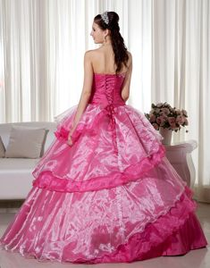 Popular Hot Pink Handmade Flower Beaded Quinceanera Gown