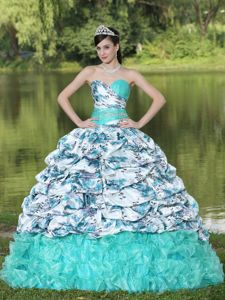Sweetheart Brush Train Pick Ups Printing Quinceanera Gown