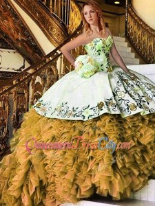 Noble Sweetheart Sleeveless Lace Up Sweet 16 Dress Yellow And White Organza