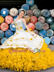 Fantastic Yellow And White Lace Up Sweetheart Appliques and Embroidery and Ruffles Quinceanera Dresses Organza Sleeveless
