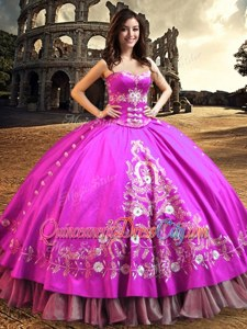 Flare Sweetheart Sleeveless Sweet 16 Dresses Floor Length Embroidery Fuchsia Satin