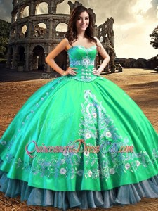 Sweet Lace and Embroidery Quince Ball Gowns Turquoise Lace Up Sleeveless Floor Length