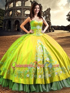 Perfect Satin One Shoulder Sleeveless Lace Up Lace and Embroidery Quinceanera Gowns inYellow