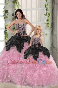 Dazzling Sleeveless Lace Up Floor Length Beading and Ruffles Sweet 16 Dresses