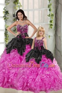 Affordable Pink And Black Sweetheart Lace Up Beading and Ruffles Quinceanera Dresses Sleeveless