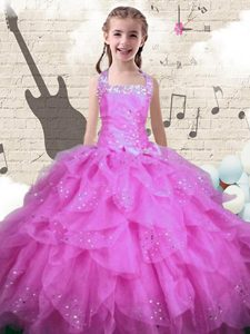 Popular Rose Pink Ball Gowns Halter Top Sleeveless Organza Floor Length Lace Up Beading and Ruffles Pageant Dress for Girls