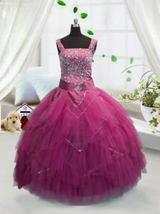 Rose Pink Lace Up Glitz Pageant Dress Beading and Ruffles Sleeveless Floor Length