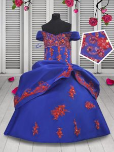 Unique Off the Shoulder Royal Blue Satin Lace Up Pageant Dress for Teens Sleeveless Floor Length Beading and Appliques