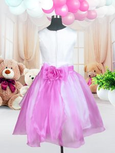 Rose Pink Ball Gowns Scoop Sleeveless Organza Knee Length Zipper Sashes ribbons and Hand Made Flower Flower Girl Dresses