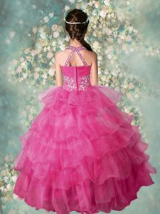 Ruffled Ball Gowns Pageant Dress Rose Pink Halter Top Organza Sleeveless Floor Length Zipper