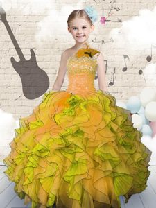 Orange Ball Gowns Beading and Ruffles Pageant Dress for Girls Lace Up Organza Sleeveless Floor Length