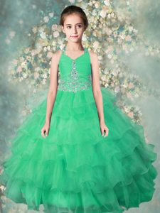 Latest Halter Top Sleeveless Floor Length Beading and Ruffles Zipper Winning Pageant Gowns with Teal