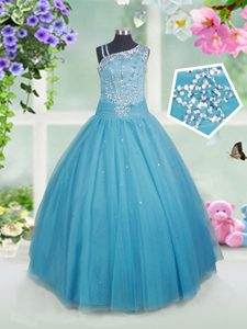 Teal Side Zipper Custom Made Pageant Dress Beading Sleeveless Floor Length