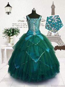 Simple Teal Ball Gowns Tulle Straps Sleeveless Beading and Belt Floor Length Lace Up Pageant Dress