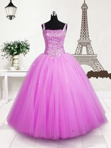Straps Sleeveless Pageant Dress Wholesale Floor Length Beading and Sequins Rose Pink Tulle