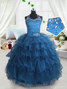 New Style Teal Ball Gowns Organza Spaghetti Straps Sleeveless Beading and Ruffled Layers Floor Length Lace Up Pageant Dress for Girls