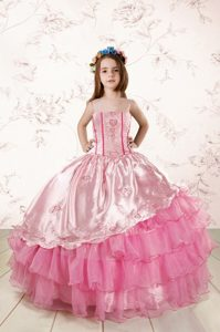Rose Pink Ball Gowns Embroidery and Ruffled Layers Pageant Dress Toddler Lace Up Organza Sleeveless Floor Length