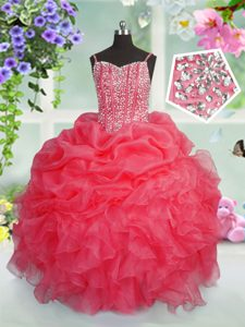 Floor Length Rose Pink Pageant Dresses Organza Sleeveless Beading and Ruffles and Pick Ups