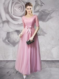 New Arrival Pink Tulle Lace Up Scoop Half Sleeves Floor Length Mother of Bride Dresses Lace and Ruching and Bowknot