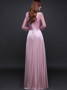 Gorgeous Long Sleeves Lace Up Floor Length Appliques and Belt Mother Dresses