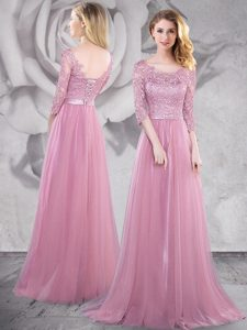 Pink Empire Scoop Half Sleeves Tulle With Brush Train Lace Up Lace and Ruching Mother of Groom Dress