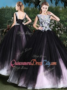 Exceptional Pink And Black Lace Up Sweet 16 Dress Appliques and Ruffles Sleeveless Floor Length