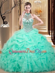 Artistic Floor Length Lace Up Quinceanera Gowns Apple Green forMilitary Ball and Sweet 16 and Quinceanera withBeading and Ruffles and Pick Ups