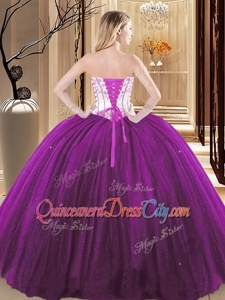 Eye-catching Embroidery 15 Quinceanera Dress Wine Red and Purple Lace Up Sleeveless Floor Length