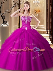 Affordable Hot Pink Ball Gowns Embroidery Quinceanera Gown Lace Up Tulle Sleeveless Floor Length