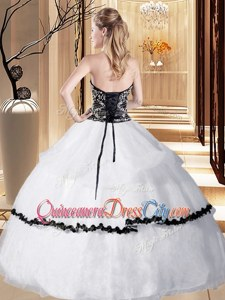 Strapless Sleeveless Sweet 16 Dress Floor Length Beading and Embroidery and Ruffled Layers White and Black and White And Black Organza